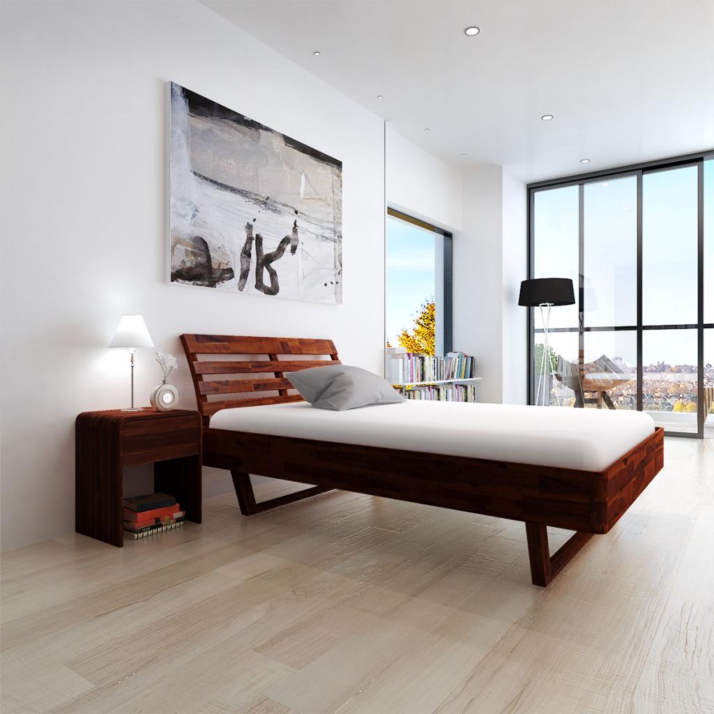 nur bett akazienholz braun 200x140 cm. Black Bedroom Furniture Sets. Home Design Ideas