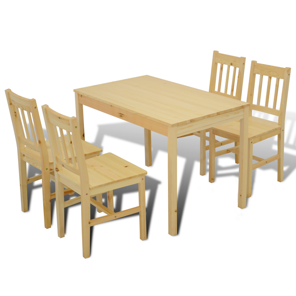 Natural wood wooden dining table with 4 chairs natural for Wooden dining table chairs