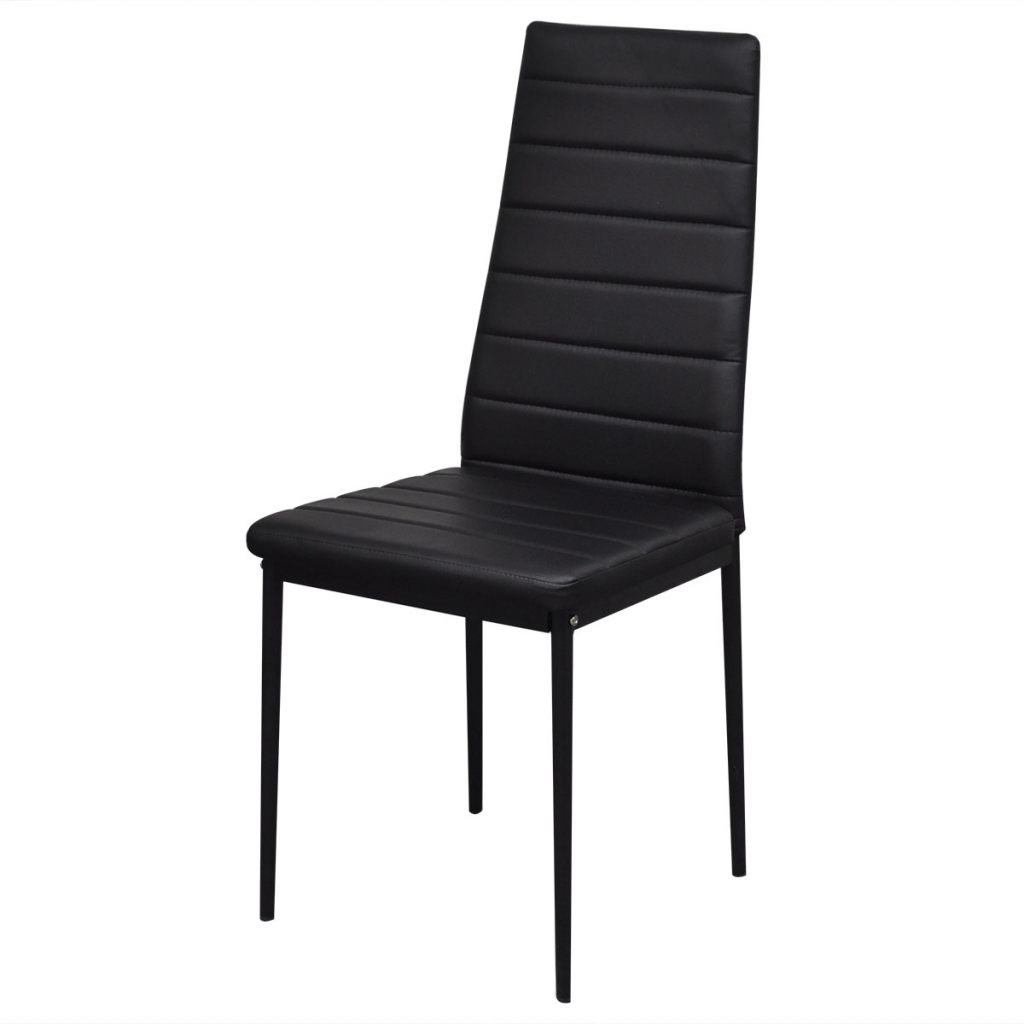 Black dining set 6 black chairs 1 table contemporary for Black dining table and 6 chairs