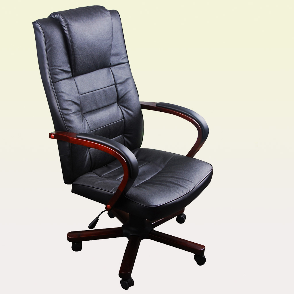 Black Swivel Office Chair Armchair Wood And Leather Torino Black