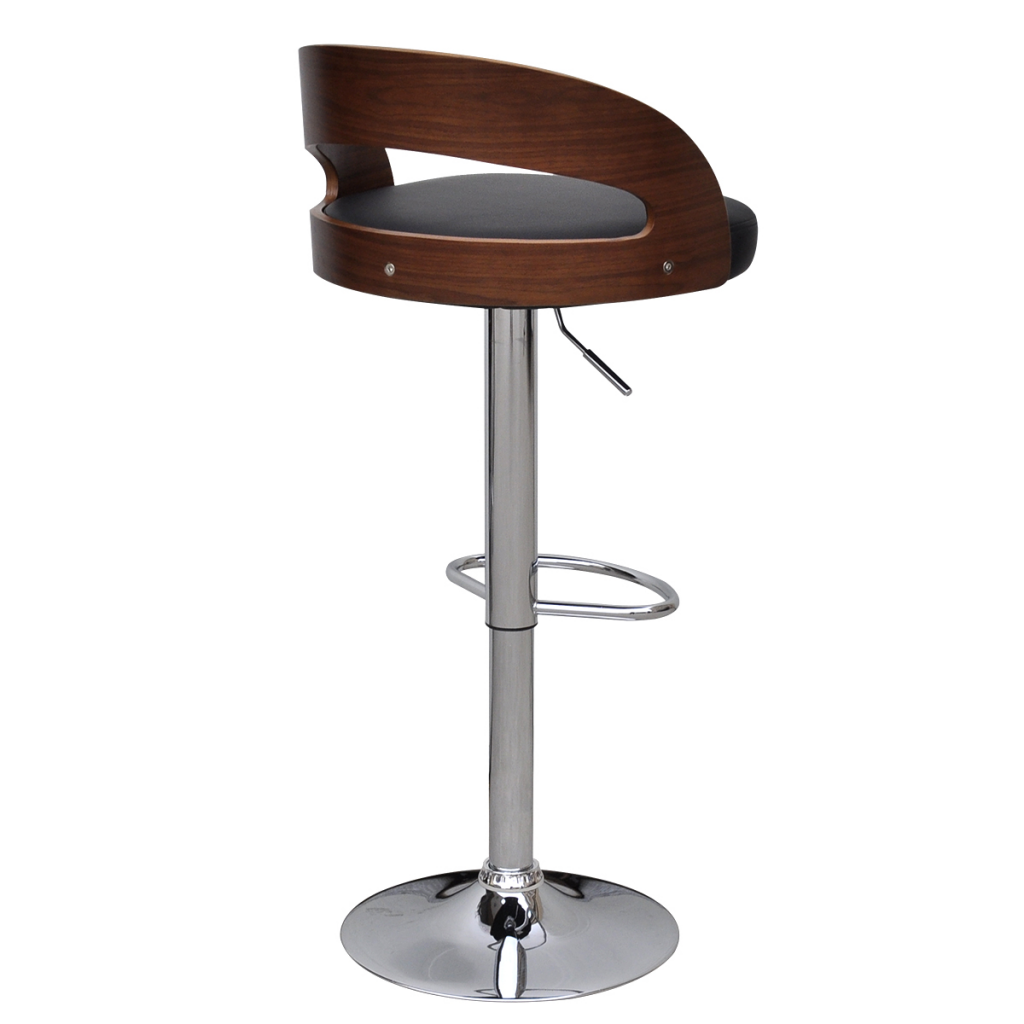 Black Brown 2 Pcs Curved Wooden Bar Stool With Adjustable