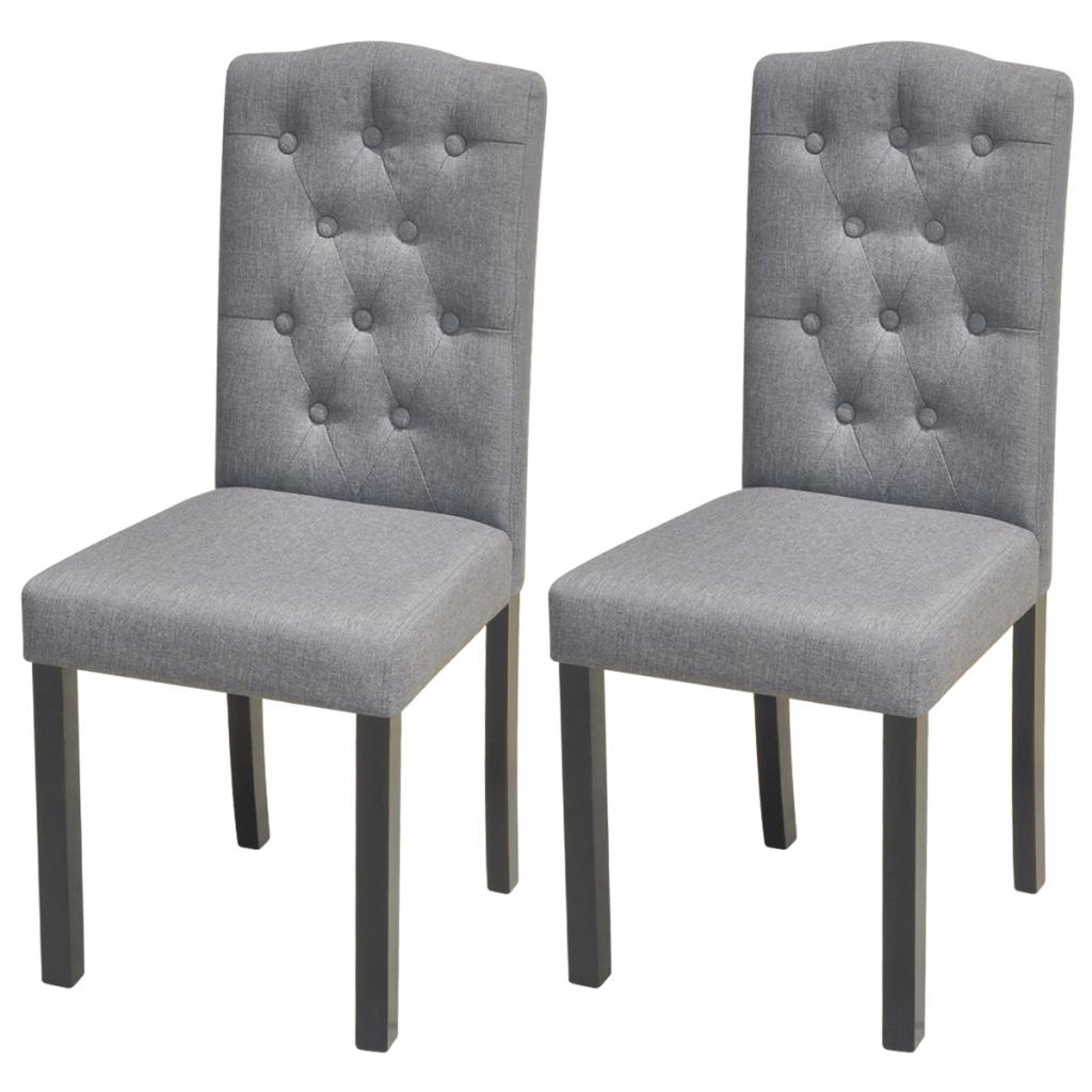 Dark gray 2 dining chairs in dark gray fabric for Telas para tapizar sillas comedor