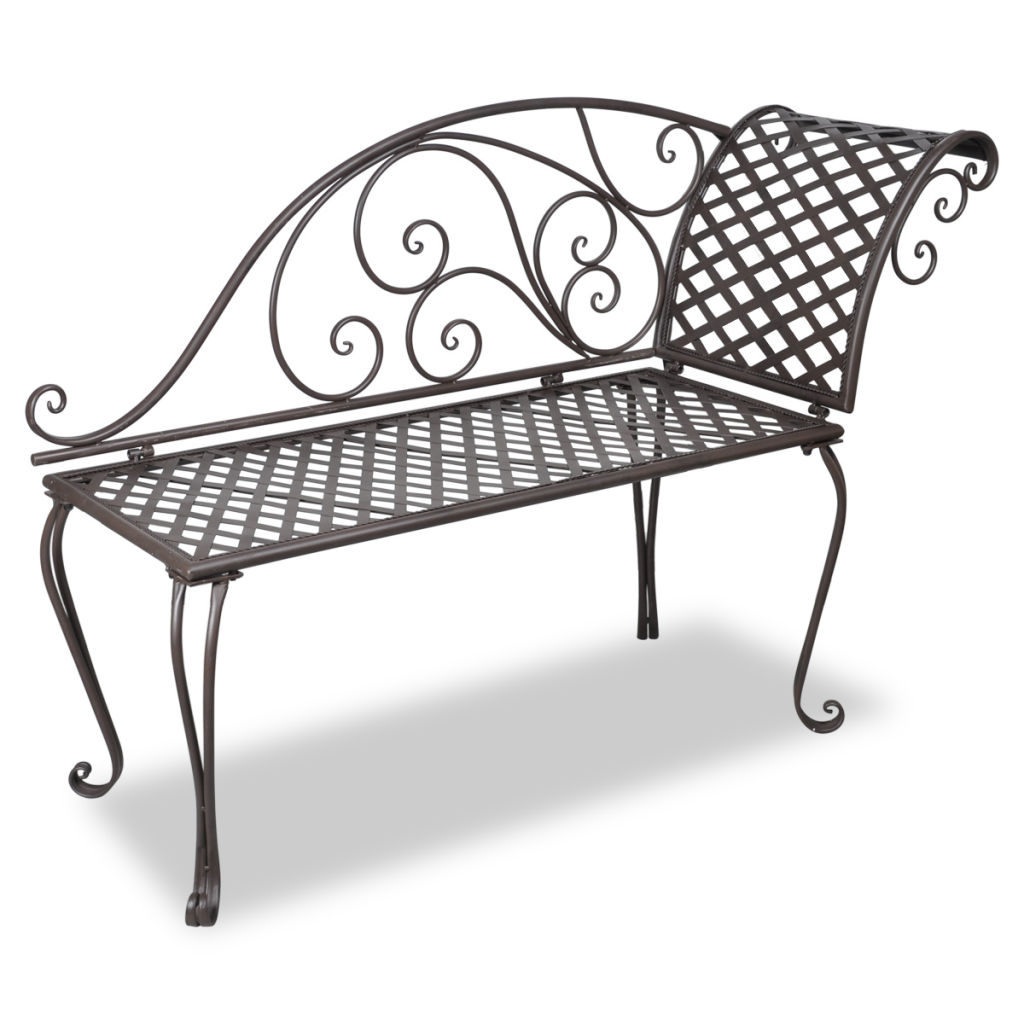 Brown Metal Garden Chaise Lounge Antique Brown Scroll