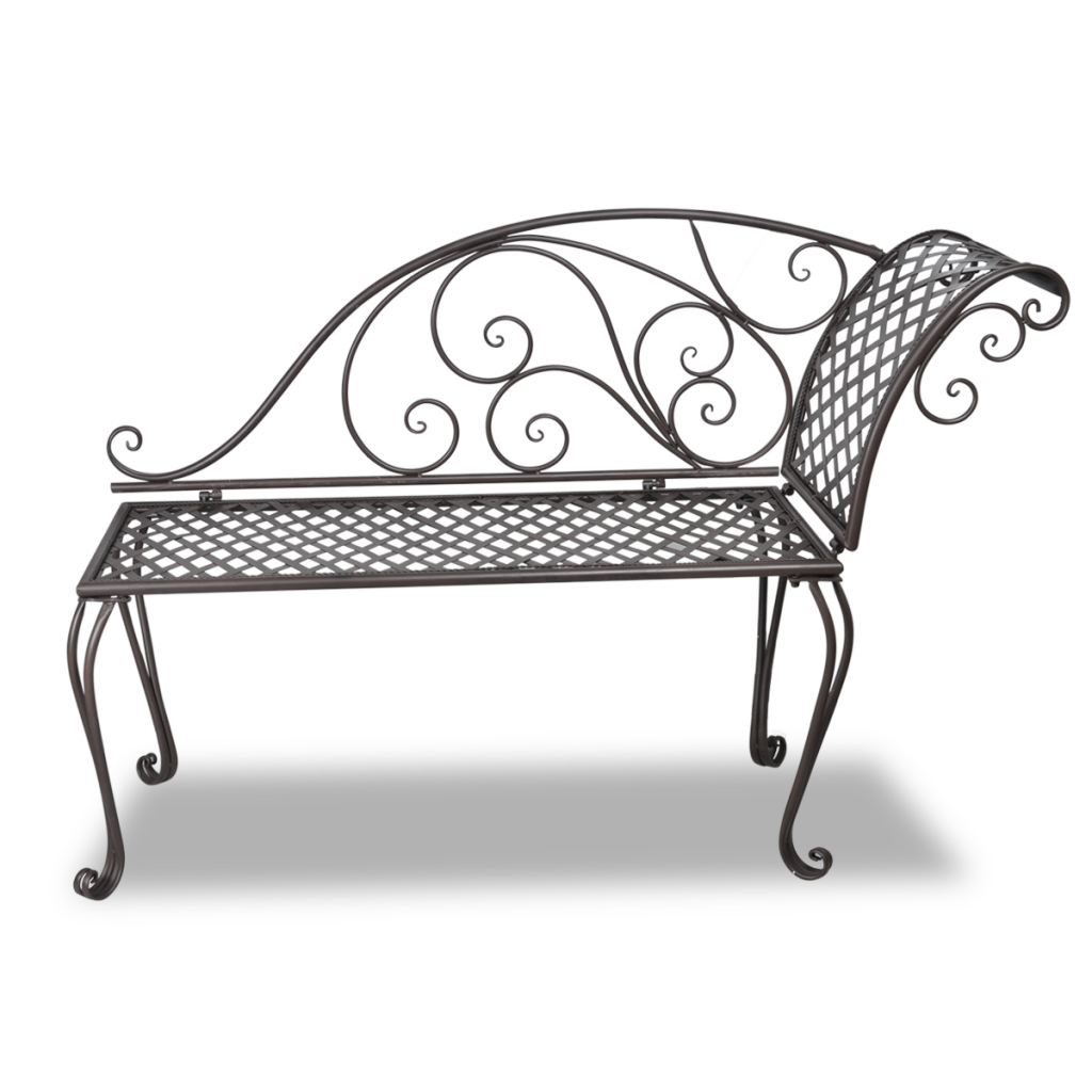 brown metal garden chaise lounge antique brown scroll. Black Bedroom Furniture Sets. Home Design Ideas