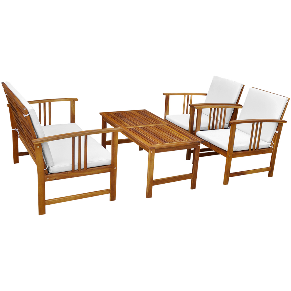 Wood Ten Piece Garden Furniture Set Acacia Wood