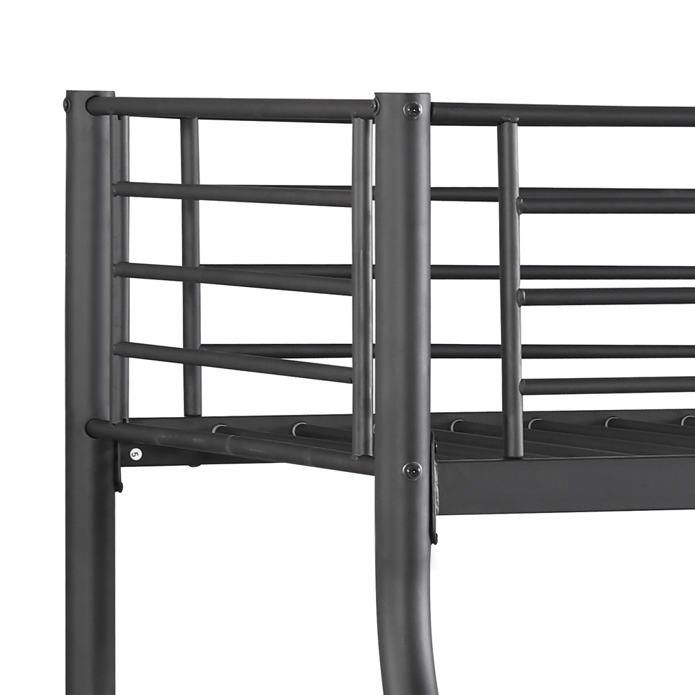 Black ikayaa modern single over double metal bunk bed for Single loft bed frame