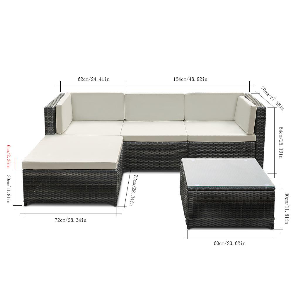 Solo 302.39€, IKayaa 5PCS PE Rattan Wicker Patio Giardino Set Divano Mobili W / Cuscini Angolo ...