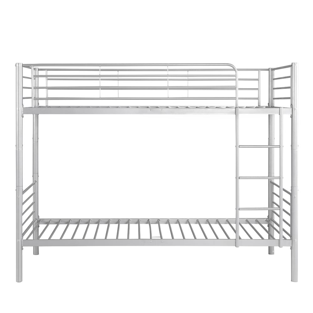 Silver ikayaa twin over twin metal bunk bed frame white for White bunk bed frame