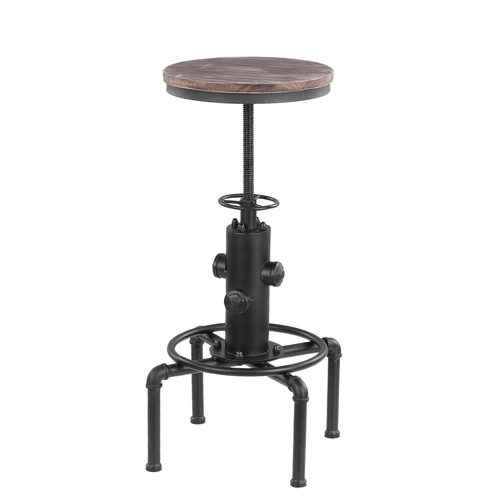 Wood IKayaa Bar Stool Height Adjustable Swivel Pinewood Top Kitchen Dining Ch