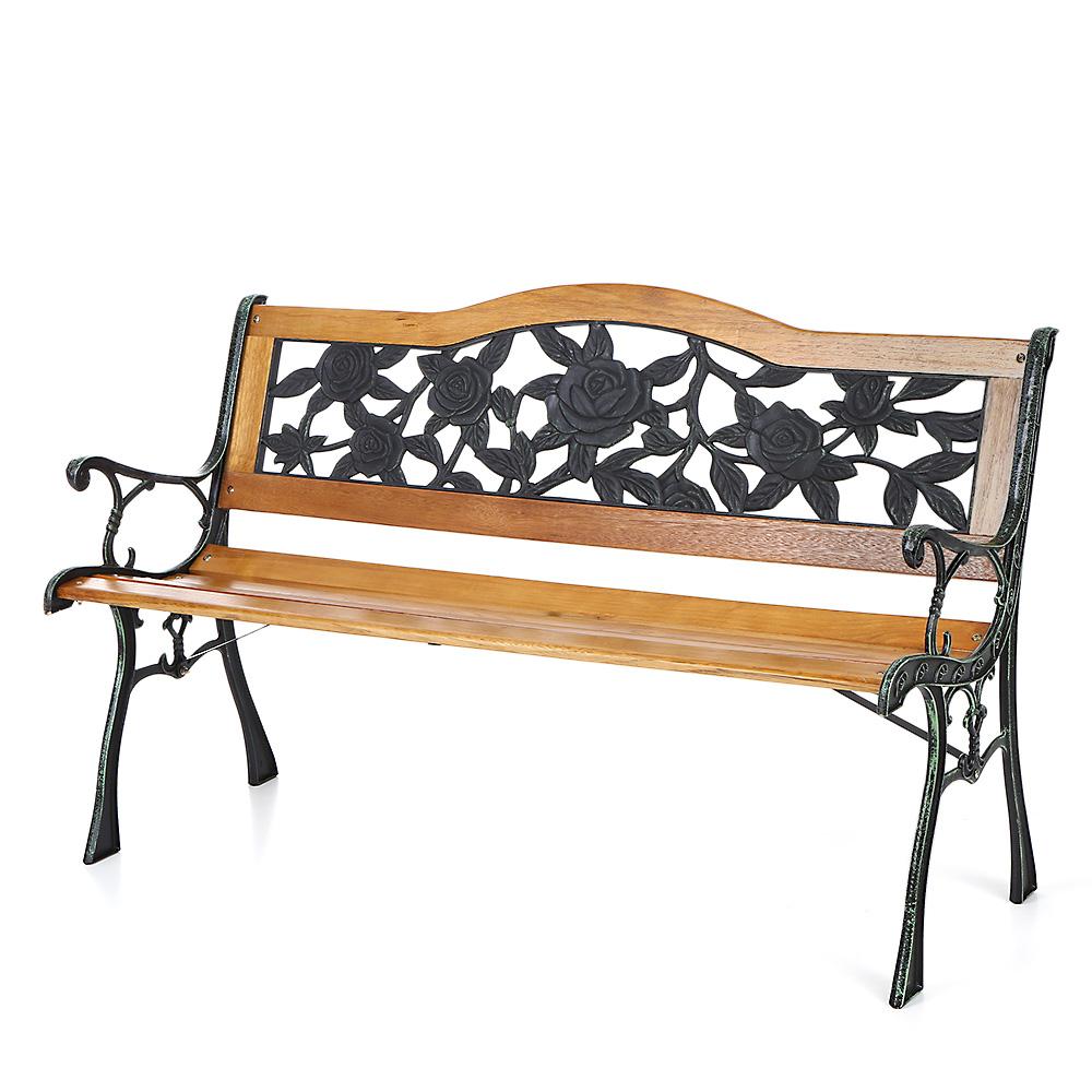 Wood Ikayaa 49 6 Cast Iron Wood Patio Outdoor Garden Bench
