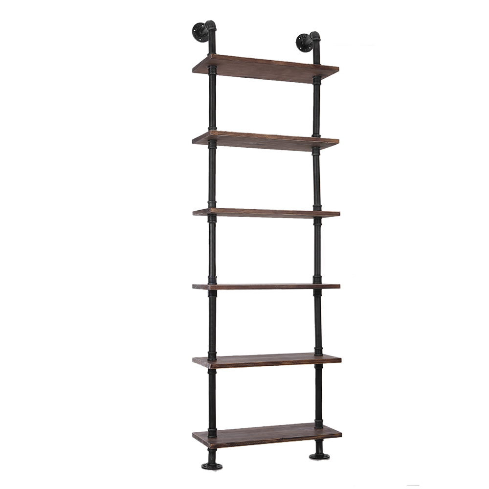 wood ikayaa 6 tier rustic industrial ladder wall shelves. Black Bedroom Furniture Sets. Home Design Ideas