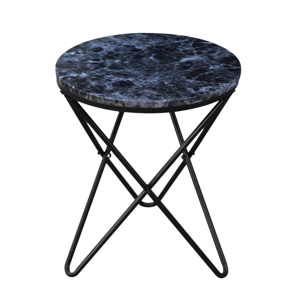 Black ikayaa modern round end metal sofa couch coffee end - Plateau rond de table ...