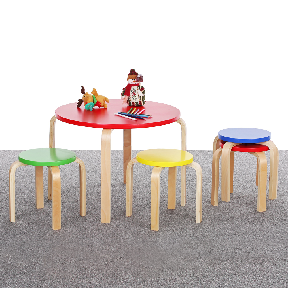 Colorful ikayaa cute solid wood round kids table and 4 for Cute kids chairs