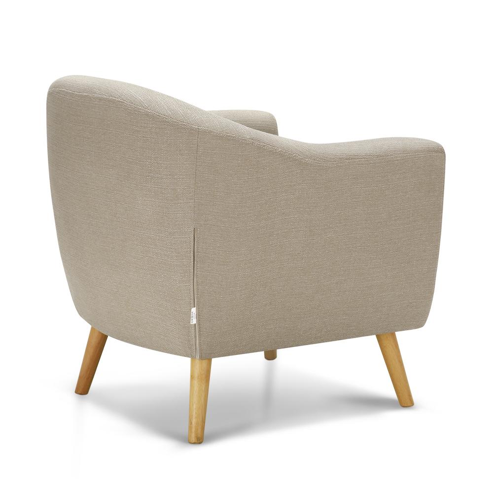 Beige Ikayaa Living Room Teal Beige Fabric Accent Chair