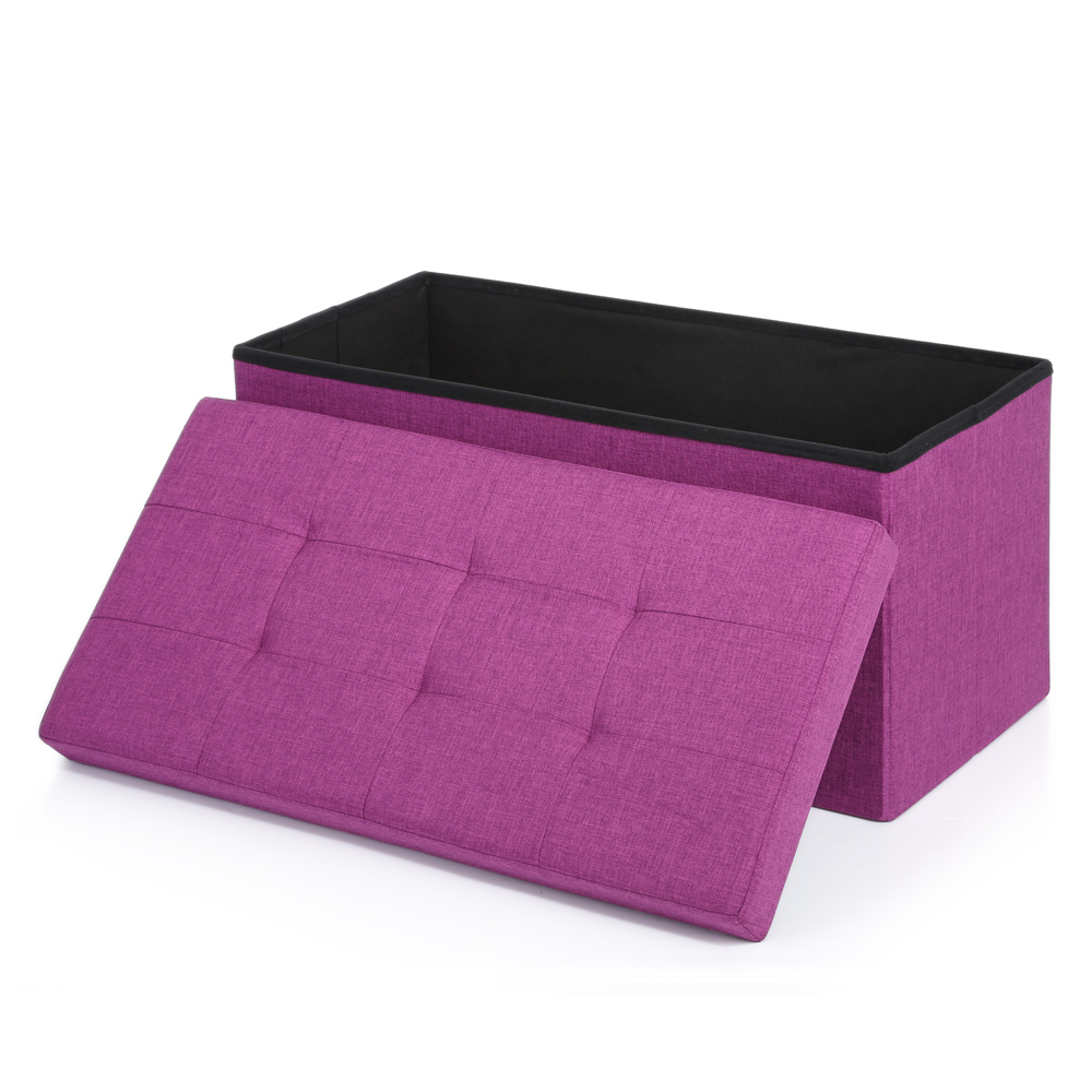 Purple ikayaa modern linen fabric folding storage ottoman bench Purple storage bench