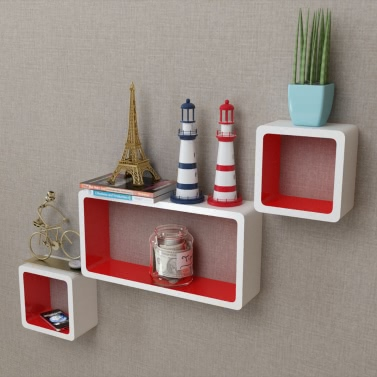 26 3 White Red Mdf Floating Wall Display Shelf Cubes Book Dvd Storage