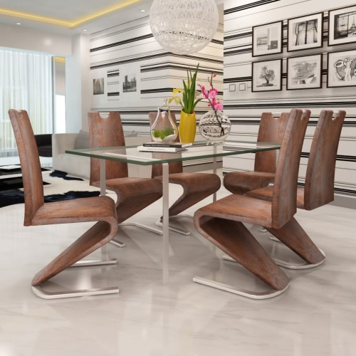 Brown Leather Chair Swinging Artificilale Supports U Set 6 pieces