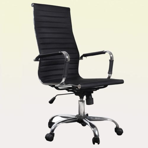 office chair black faux leather high back