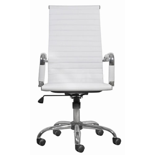 White Leather Office Chair High Back