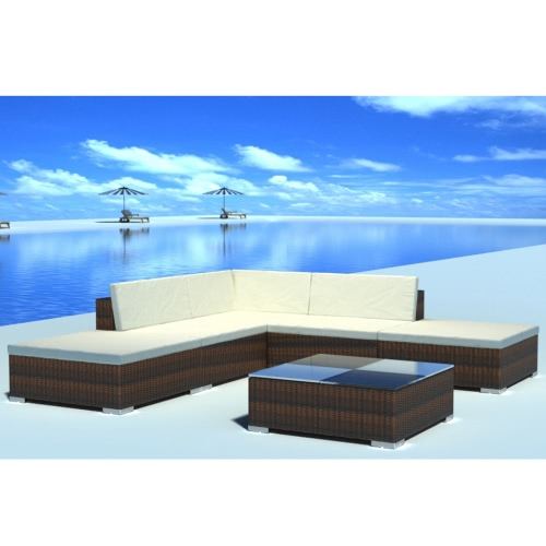 15 Piece Garden Lounge Set Brown Poly Rattan