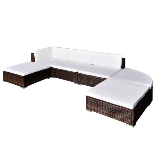 16 Piece Garden Lounge Set Brown Poly Rattan