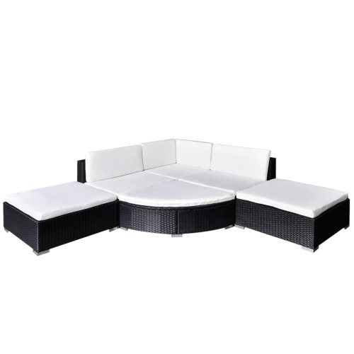 16 Piece Garden Lounge Set Black Poly Rattan