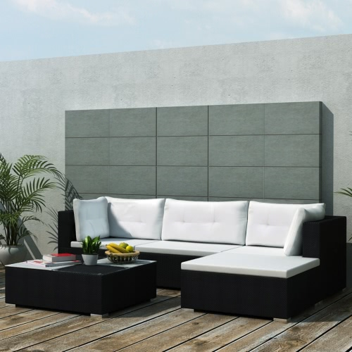 14 Piece Garden Sofa Set Black Poly Rattan