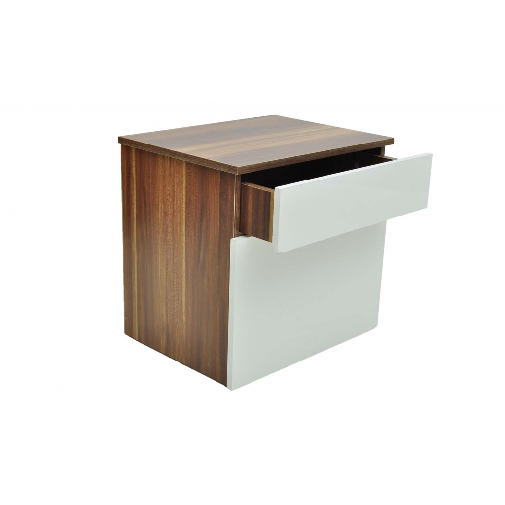 Brown 1 drawer bedside cabinet bedroom table brown white for 1 drawer table