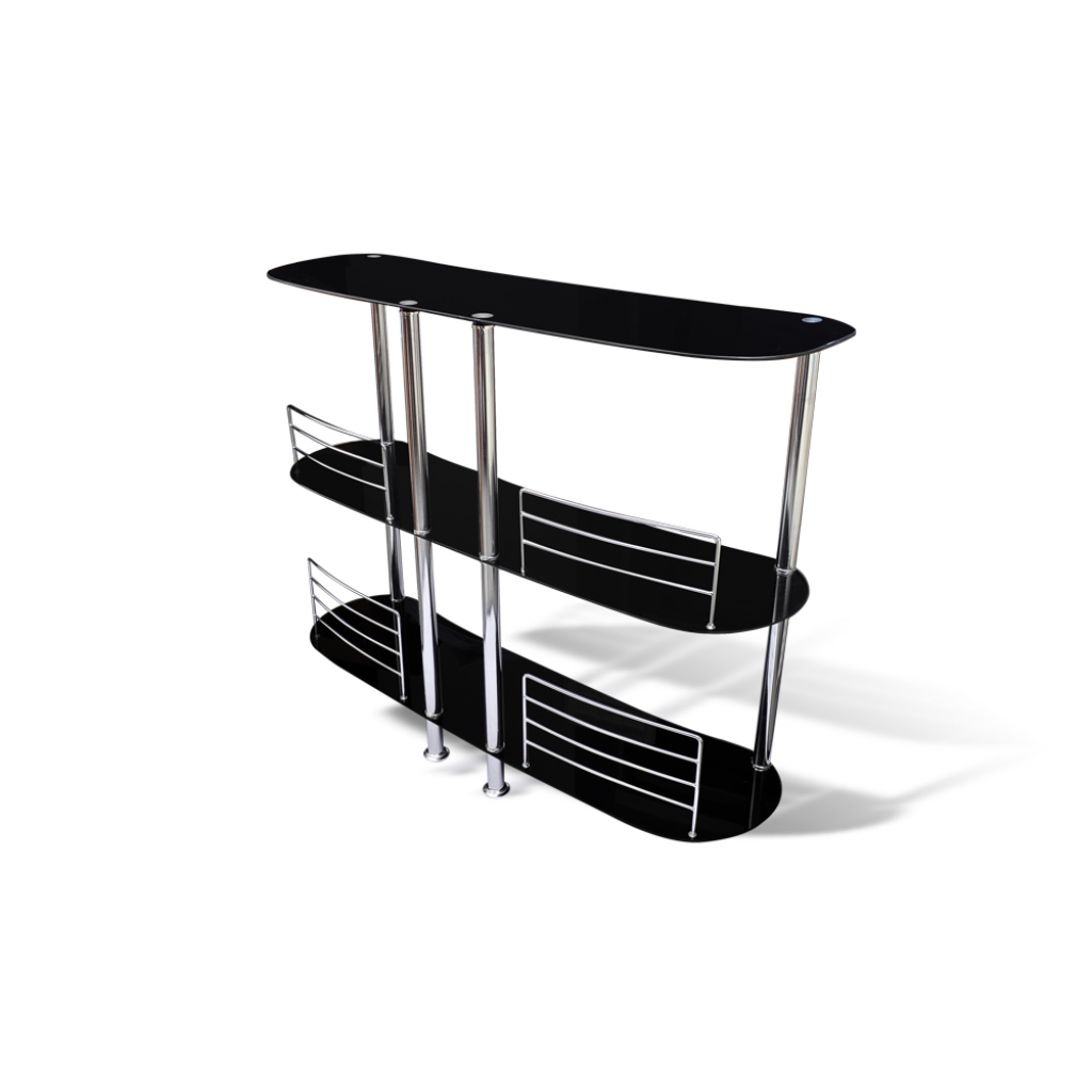 Black bar stand black glass chrome for Stand pub