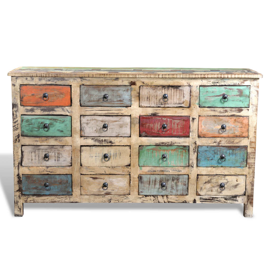 Reclaimed Wood Cabinet Storage With 16 Drawers White