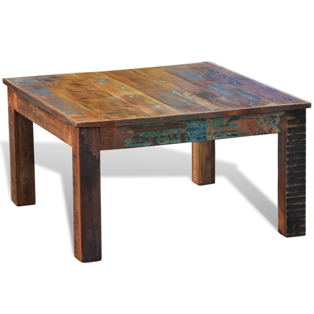 Wood reclaimed wood coffee table square antique style Wood square coffee tables
