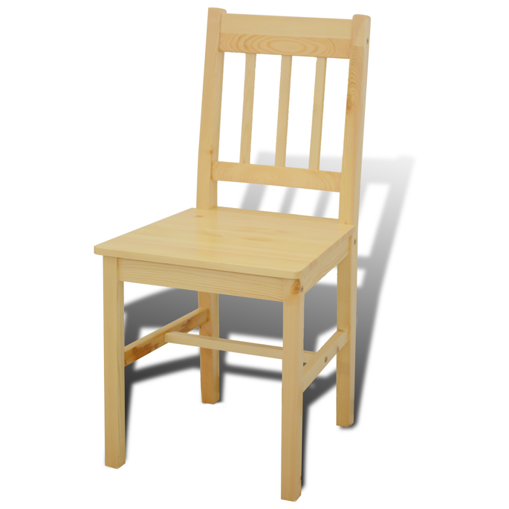 Natural wood wooden dining table with 4 chairs natural for Natural wood dining chairs