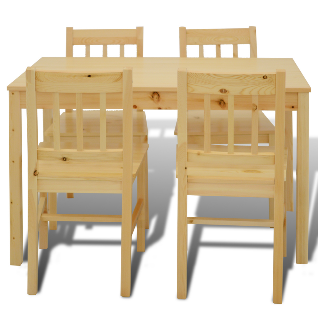 natural wood wooden dining table with 4 chairs natural. Black Bedroom Furniture Sets. Home Design Ideas