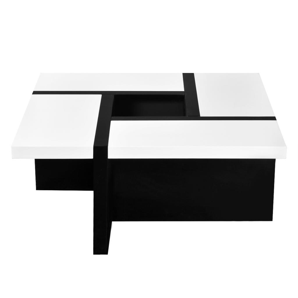 White White Black High Gloss Coffee Table