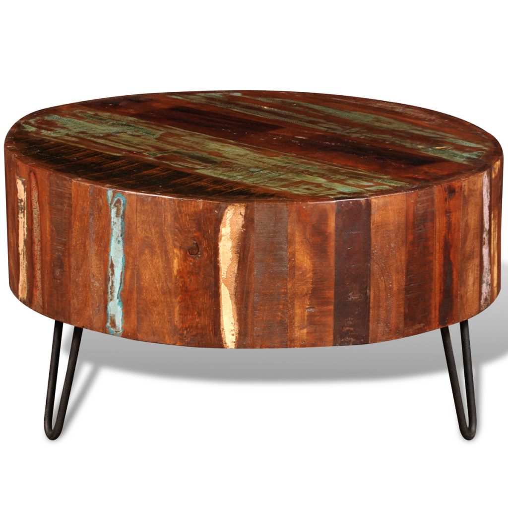Solid wood round coffee table - Reclaimed Solid Wood Round Coffee Table