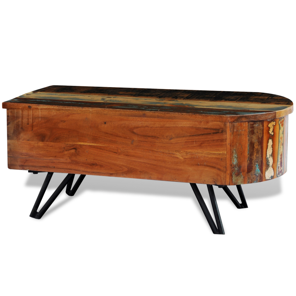 Natural Wood Reclaimed Solid Wood Coffee Table With Iron Pin Legs