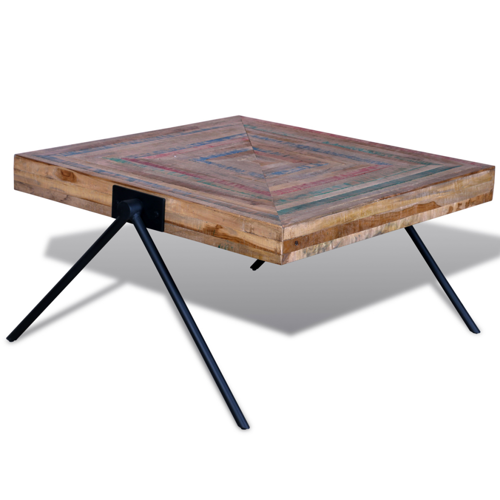 Wood Coffee Table With V Shaped Legs Reclaimed Teak