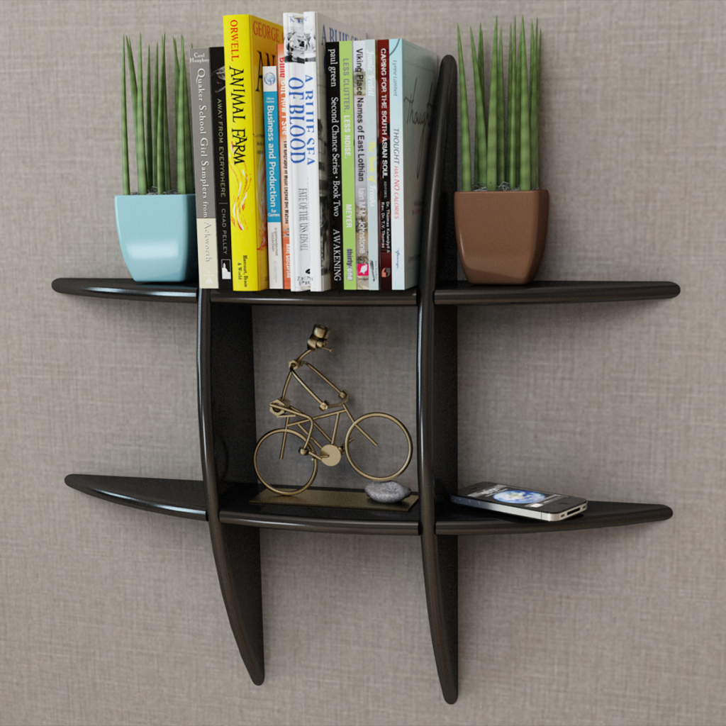 Black Black Mdf Floating Wall Display Shelf Book Dvd