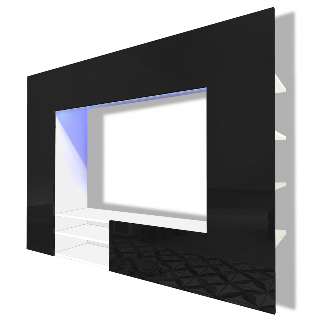 Black Entertainment Center Wall Unit black white black high gloss entertainment center led tv wall unit