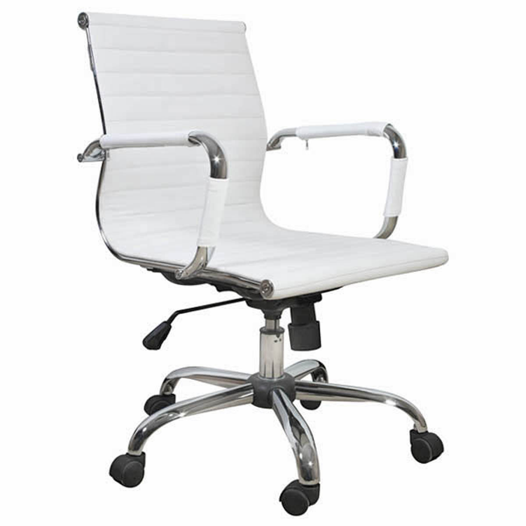 white white leather office chair