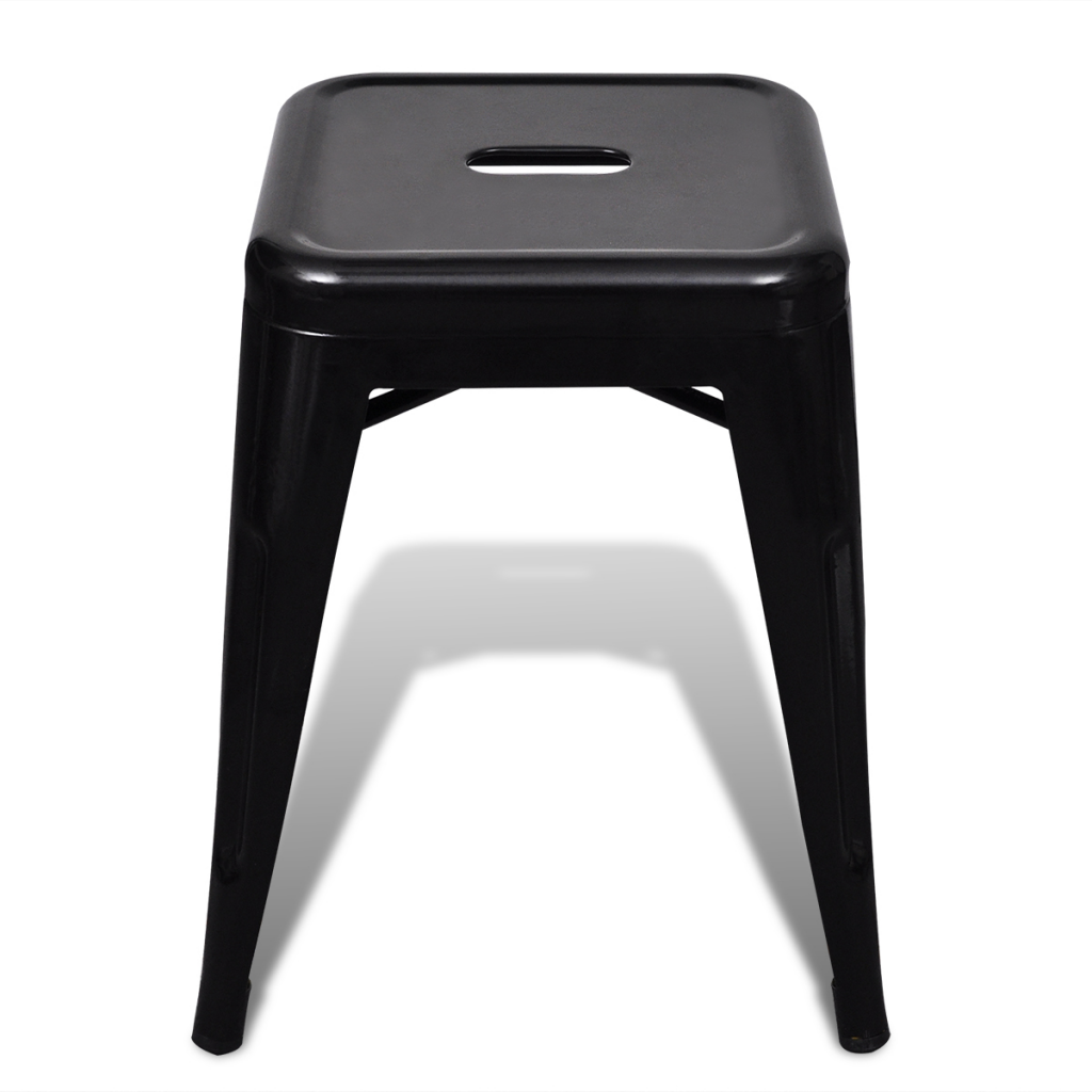 Black 2 Pcs Black Stackable Small Metal Stool Lovdock Com