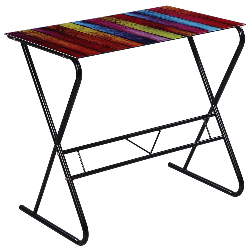 colorful glass desk with rainbow pattern. Black Bedroom Furniture Sets. Home Design Ideas