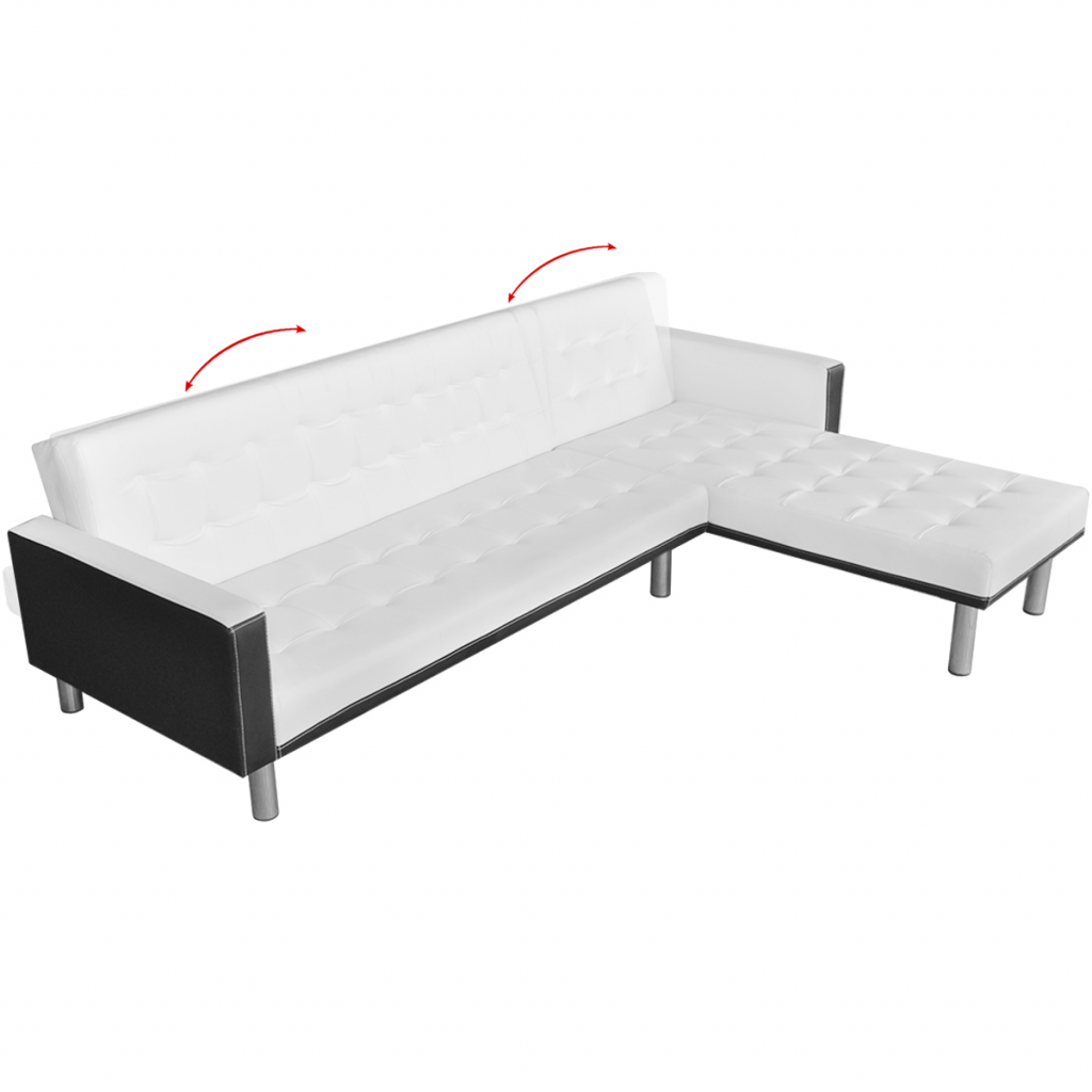 White L Shaped Sofa Bed Adjustable White Black