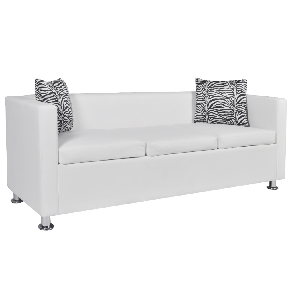 White artificial leather 3 seater sofa white - Sofa cama original ...