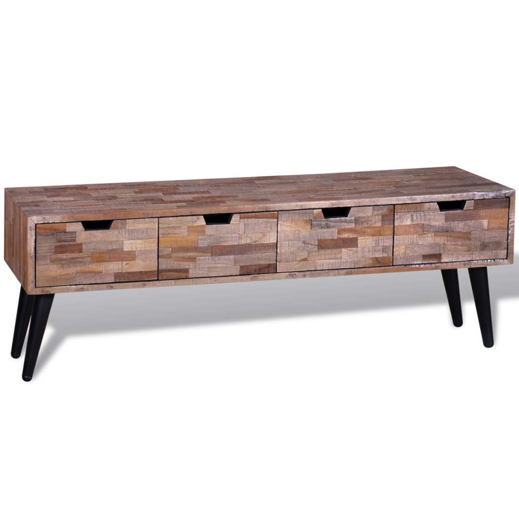 Wood tv cabinet console with teak antique drawers