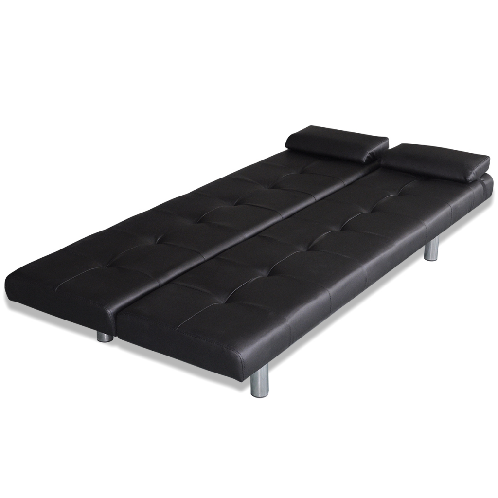 Black sofa bed with two pillows adjustable black for Black divan bed with mattress