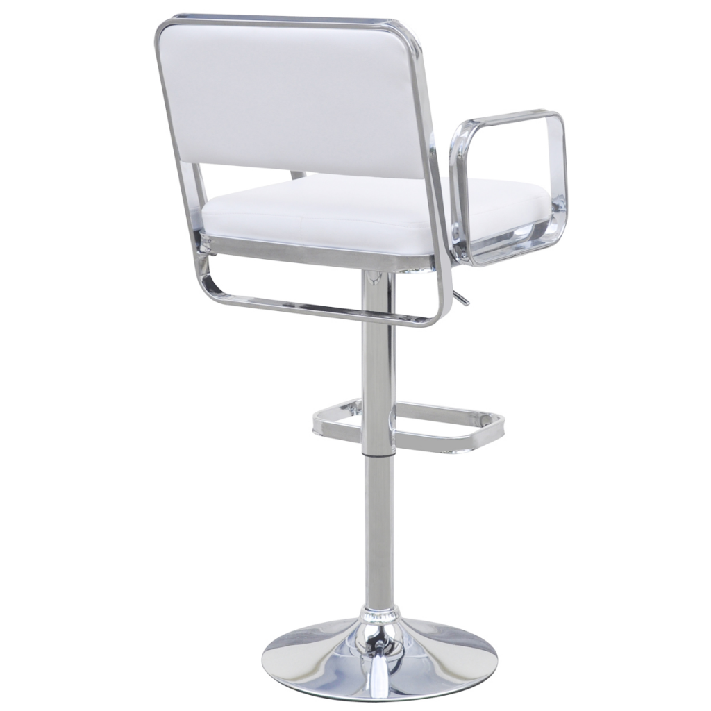 White 2 Height Adjustable Swivel Bar Stools With Armrests