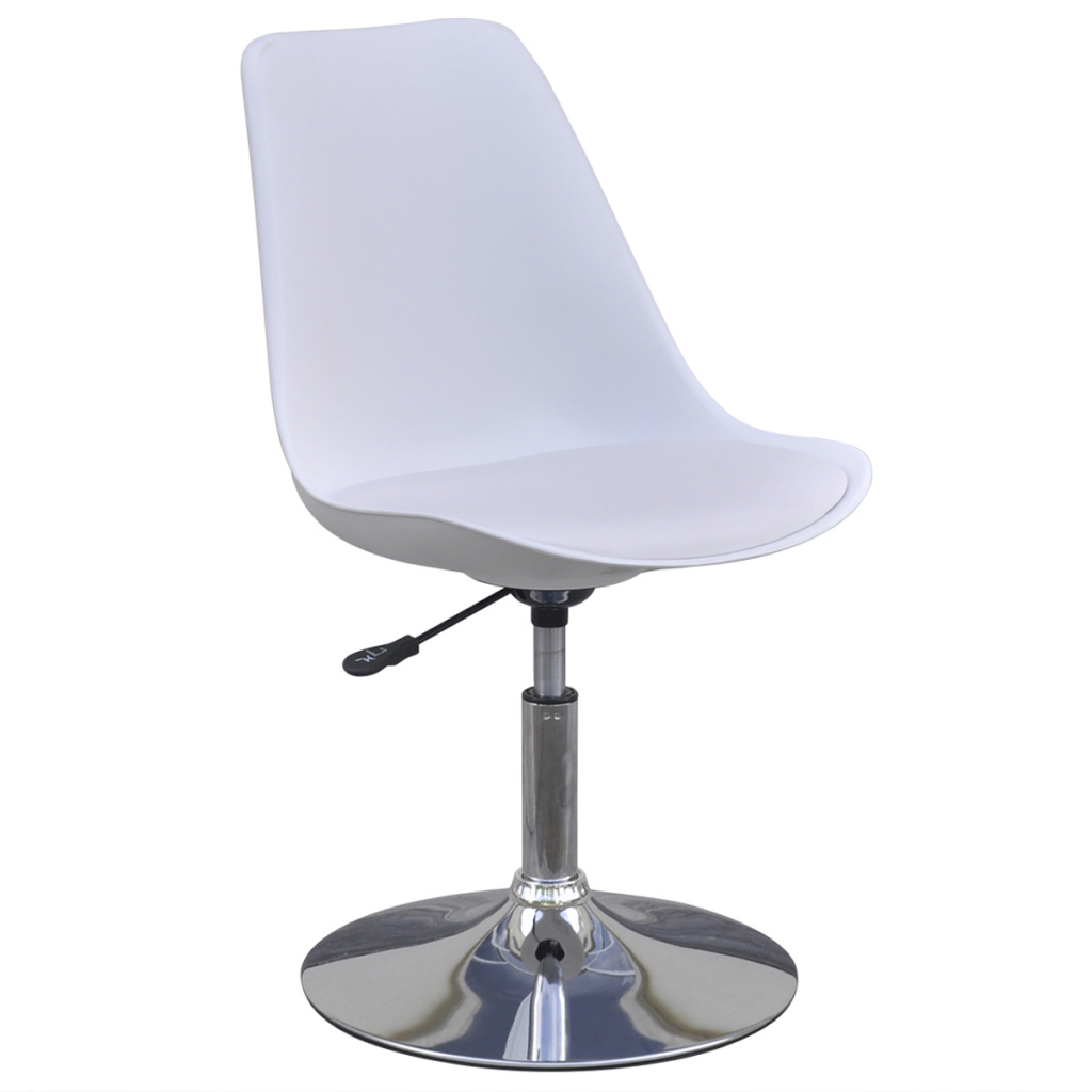 white 2 Height Adjustable Swivel Dining Chairs White
