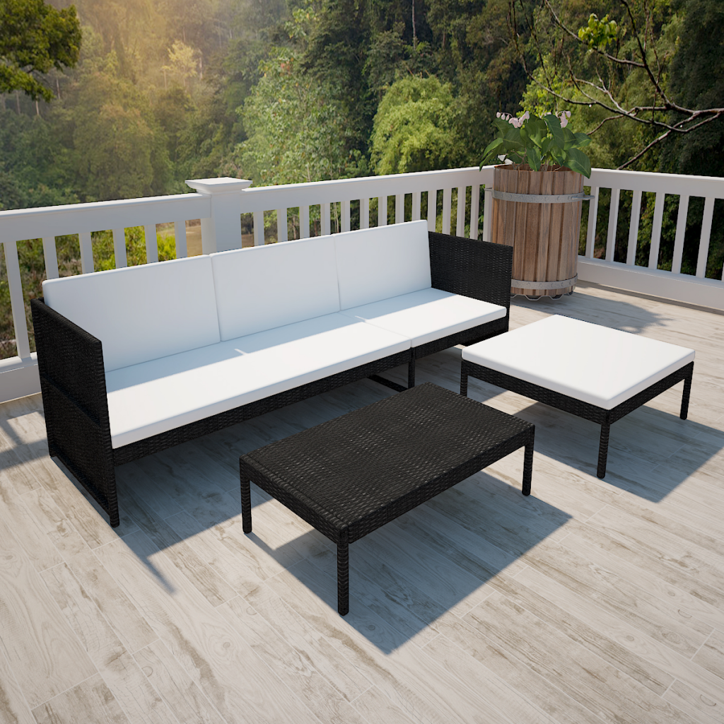 black white black outdoor poly rattan three seater lounge. Black Bedroom Furniture Sets. Home Design Ideas