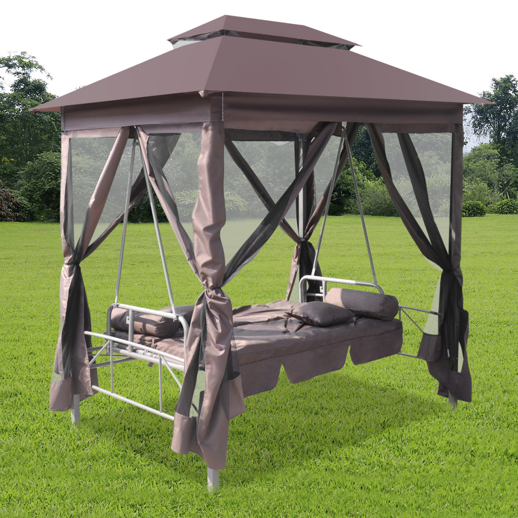 Brown luxury outdoor gazebo swing chair sunbed coffee for Schaukelstuhl outdoor holz